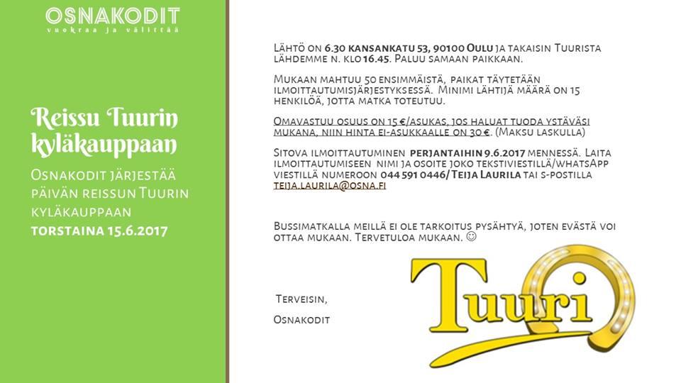 Asukastoiminnan reissu Tuurin kyläkauppaan 15.6.2017.